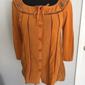 NWT Anthropologie Deletta yellow blouse size XS